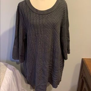 Karen Scott oversized long sweater sz 2X dark gray